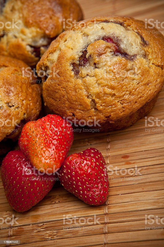 Muffins with strawberries royalty-free stock photo