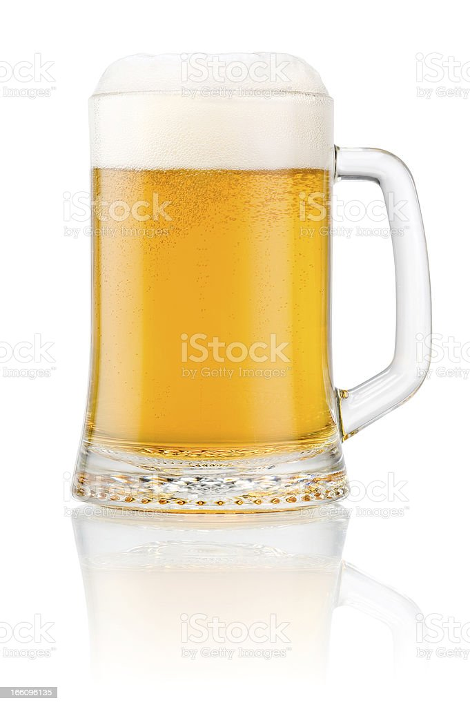 Mug fresh beer with cap of foam isolated on white royalty-free stock photo