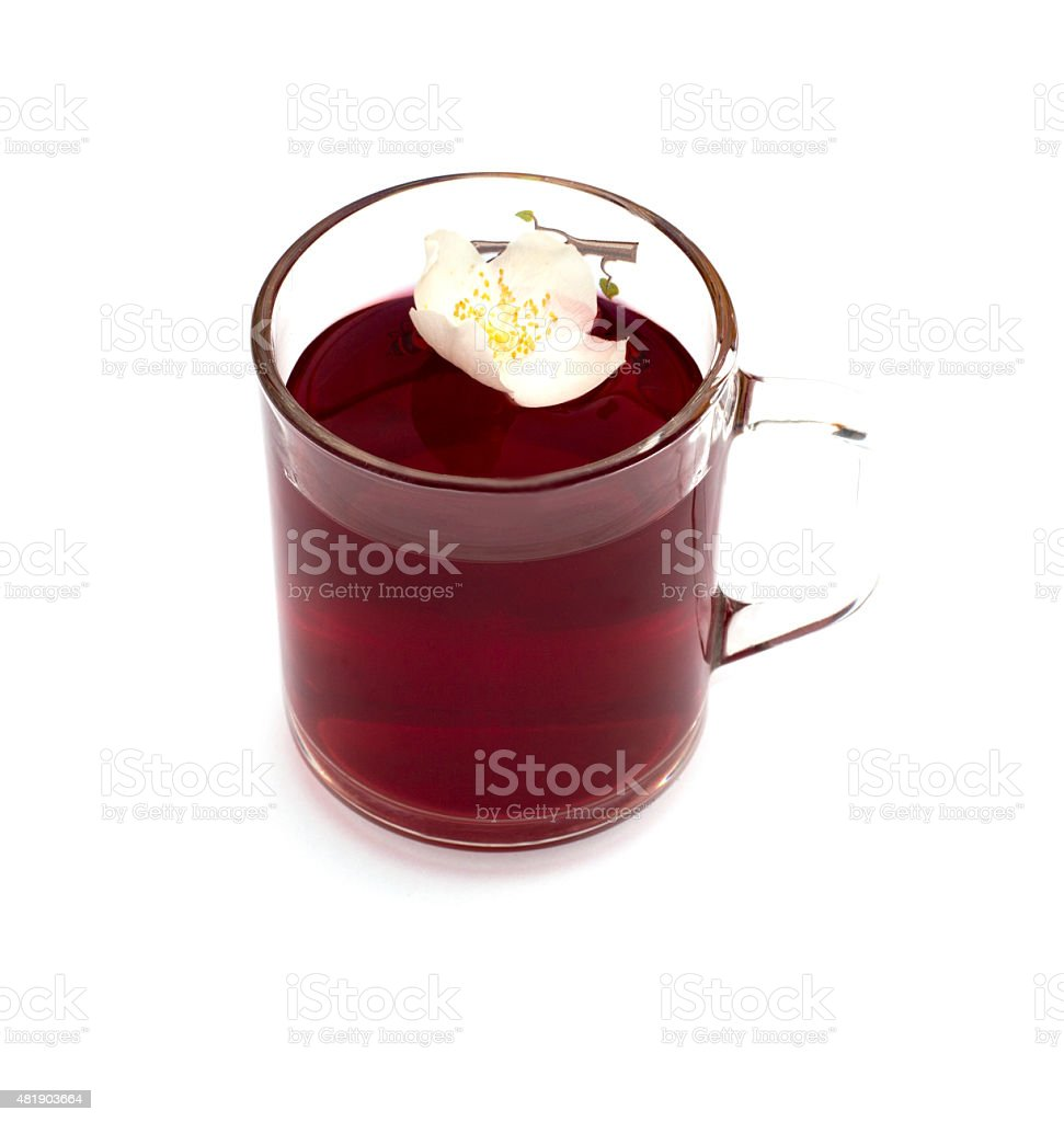 mug of beautiful bright red drink stock photo