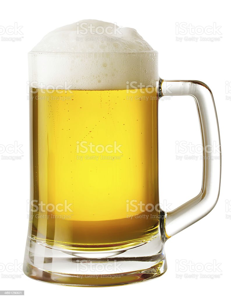 Mug of beer with foam stock photo