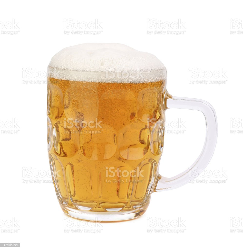 mug of beer with froth isolated on white royalty-free stock photo