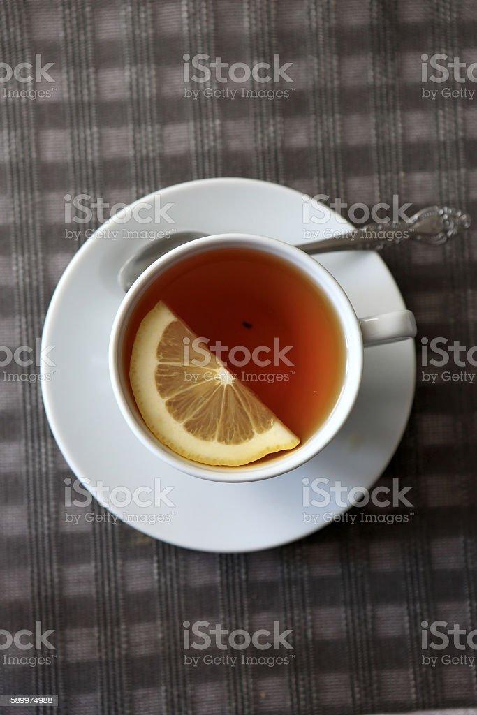 Mug of black tea stock photo