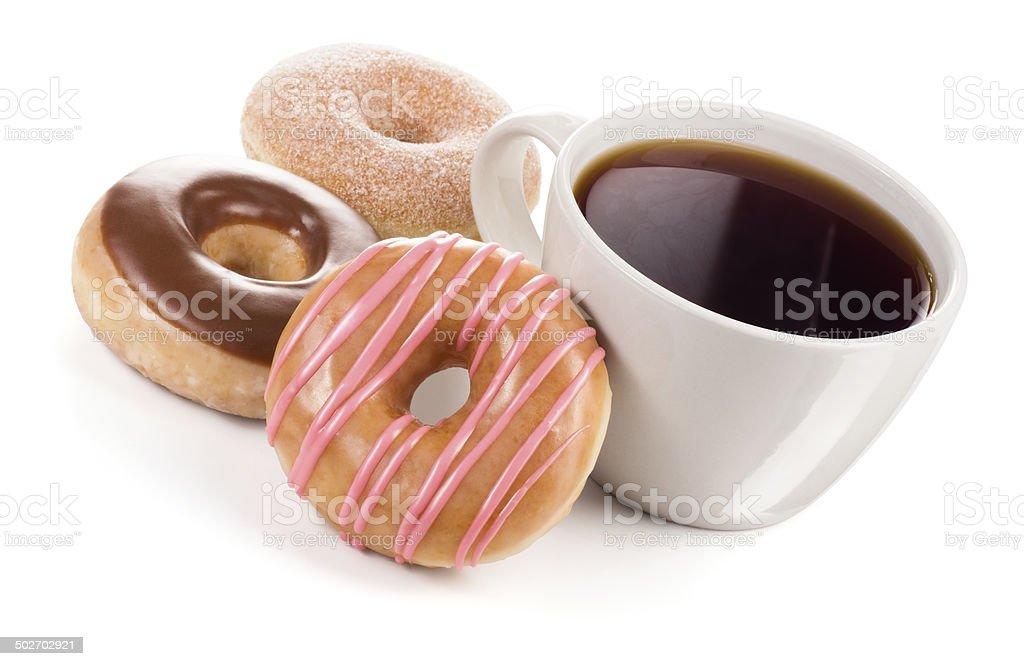 Mug of Coffee and Three Donuts stock photo