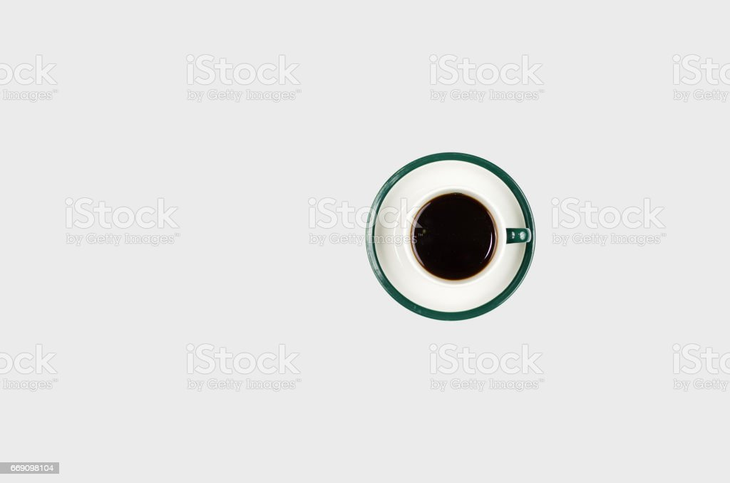 Mug of coffee on a white background. stock photo