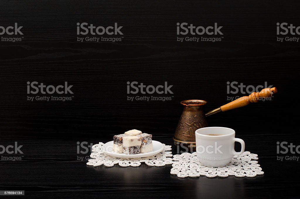Mug of coffee, Turkish delight and Cezve. Space for text stock photo