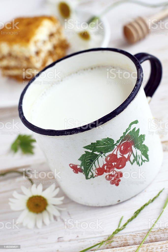Mug of fresh milk and honey cake royalty-free stock photo