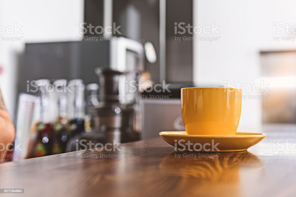 Mug of hot beverage in cafe stock photo
