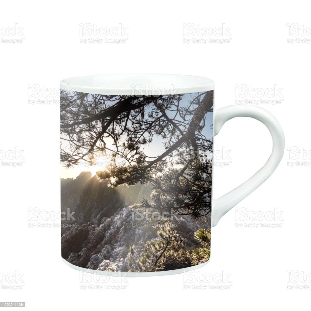 Mug Of Tea Or Coffee with Huangsan mountain nature photo stock photo