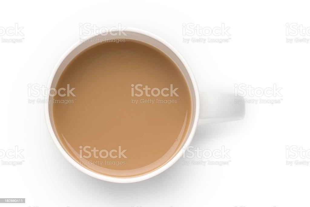 Mug of white coffee stock photo