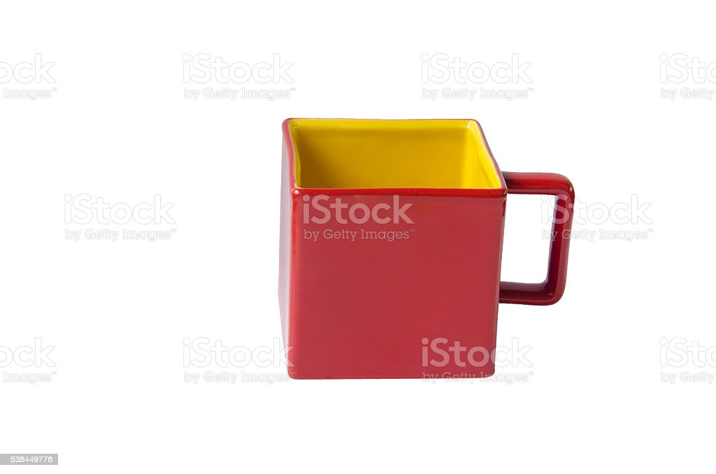 Mug square red cup on white background stock photo