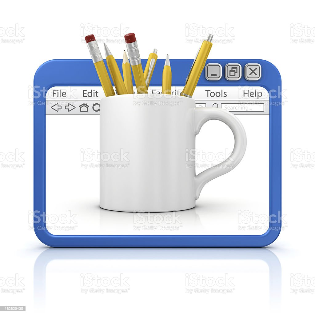 mug with stuff in browser royalty-free stock photo