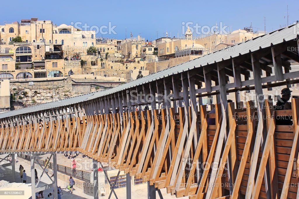 mughrabi bridge from the wailing wall to the temple mount  in jerusalem stock photo