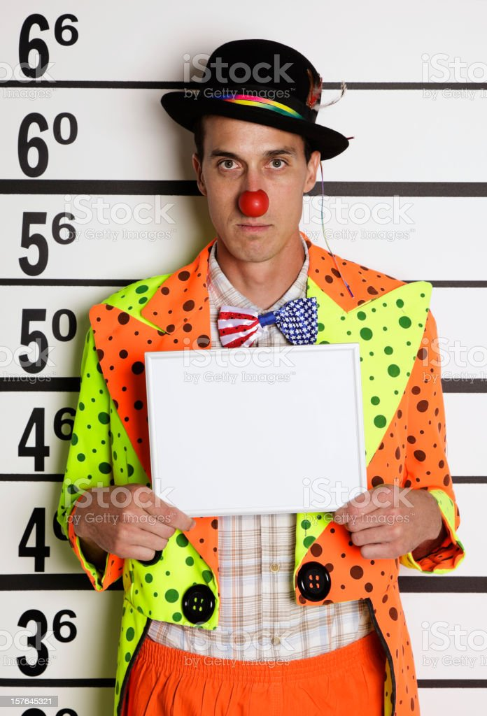 Mugshot of a Clown royalty-free stock photo