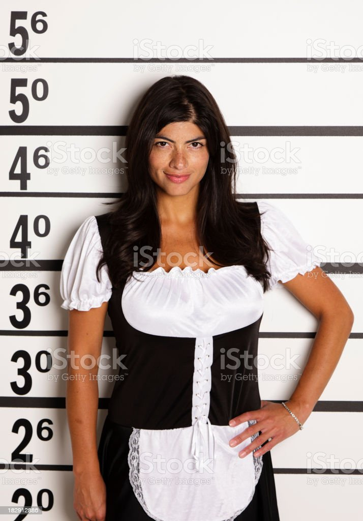 Mugshot of a French Maid stock photo