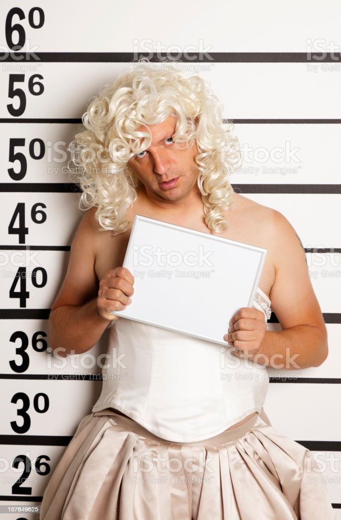 Mugshot of a Man in Drag stock photo