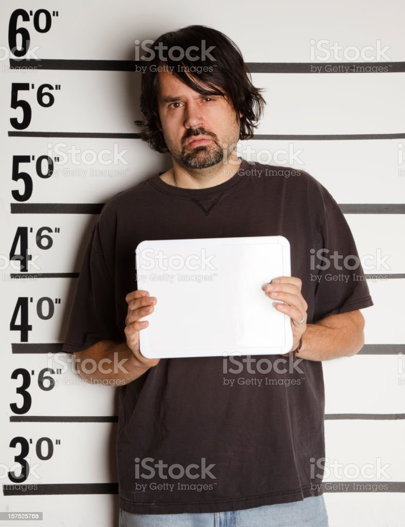 Mugshot of a Man stock photo