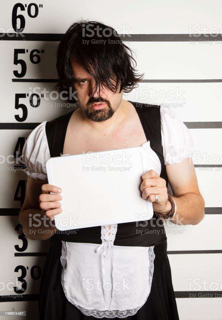 Mugshot of a Man Wearing French Maid Outfit royalty-free stock photo