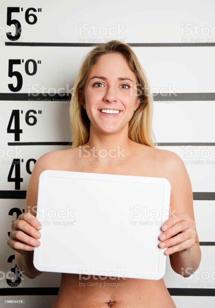Mugshot of a Nude Woman royalty-free stock photo