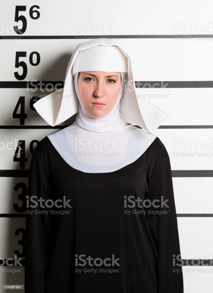Mugshot of a Nun royalty-free stock photo