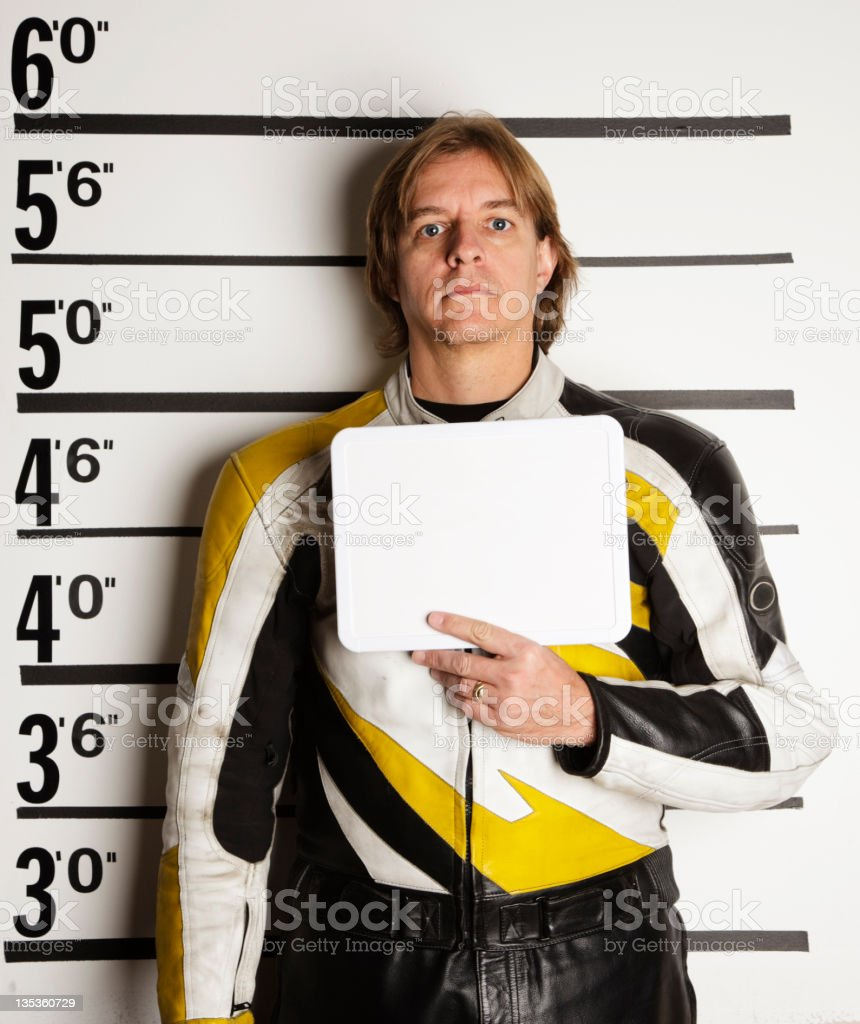Mugshot of a Racecar Driver royalty-free stock photo