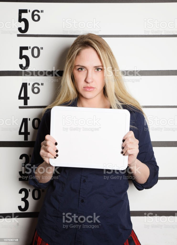 Mugshot of a School Girl stock photo