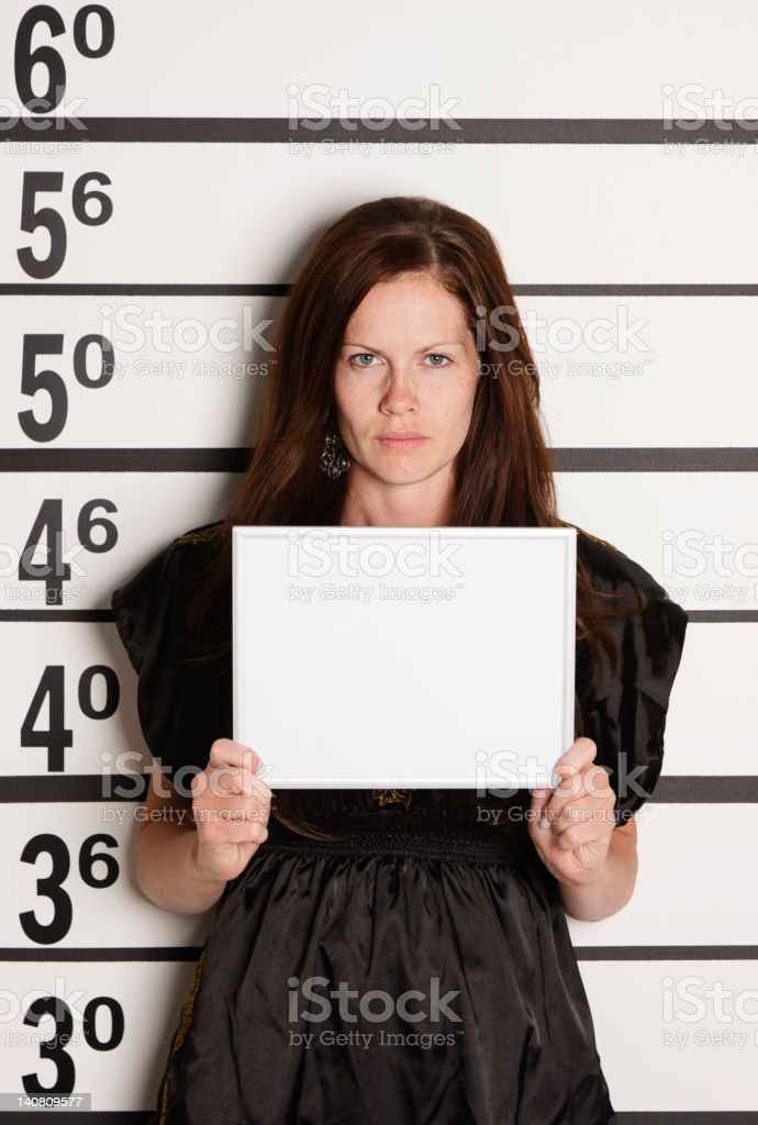 Mugshot of a Woman royalty-free stock photo