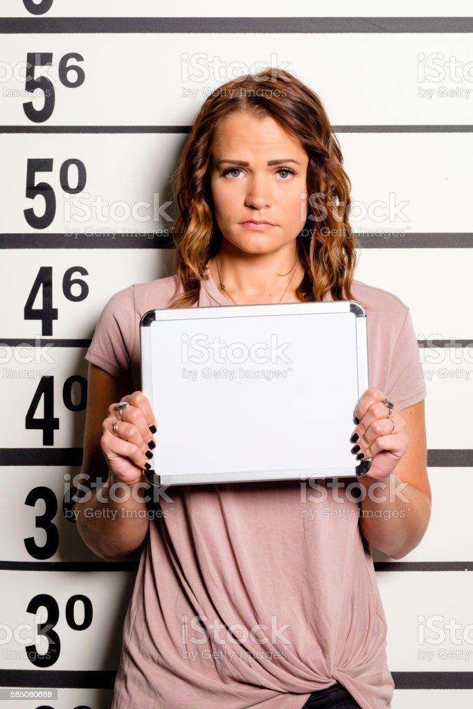 Mugshot of a Woman stock photo