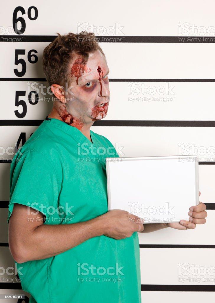 Mugshot of a Zombie stock photo