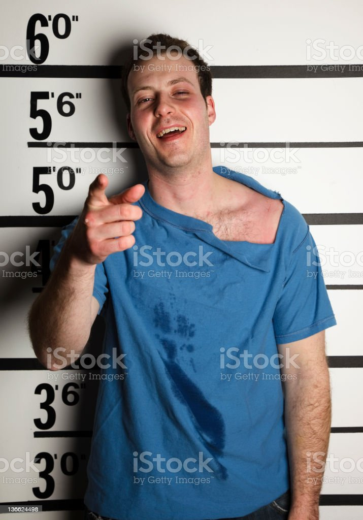 Mugshot of an Arrested Man stock photo
