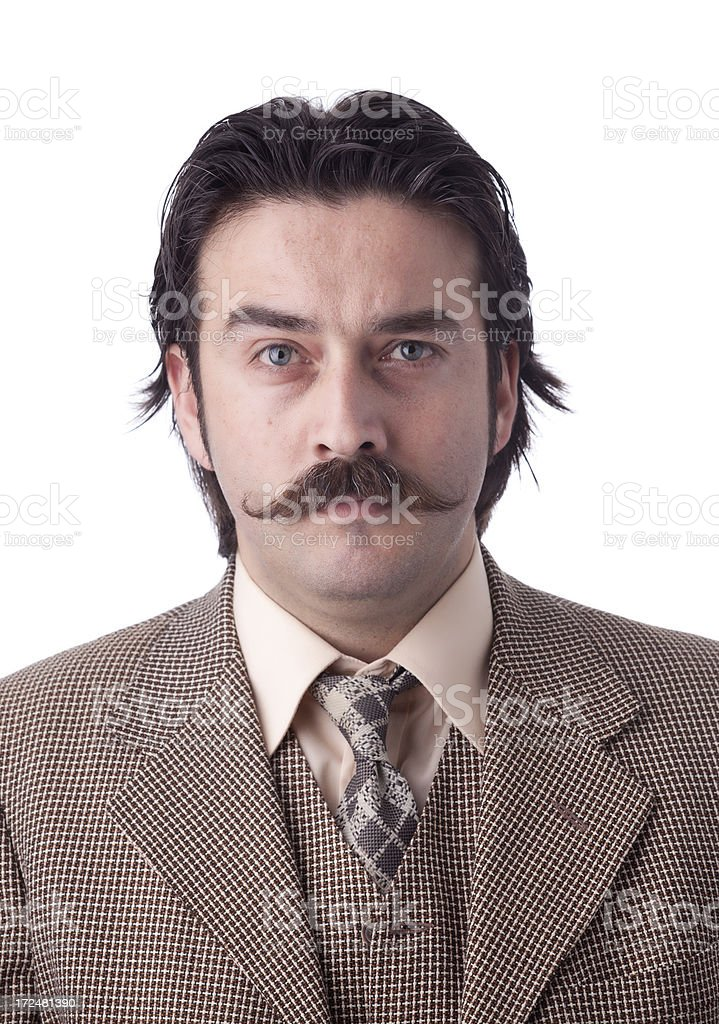 Mugshot of serious man with mustache stock photo