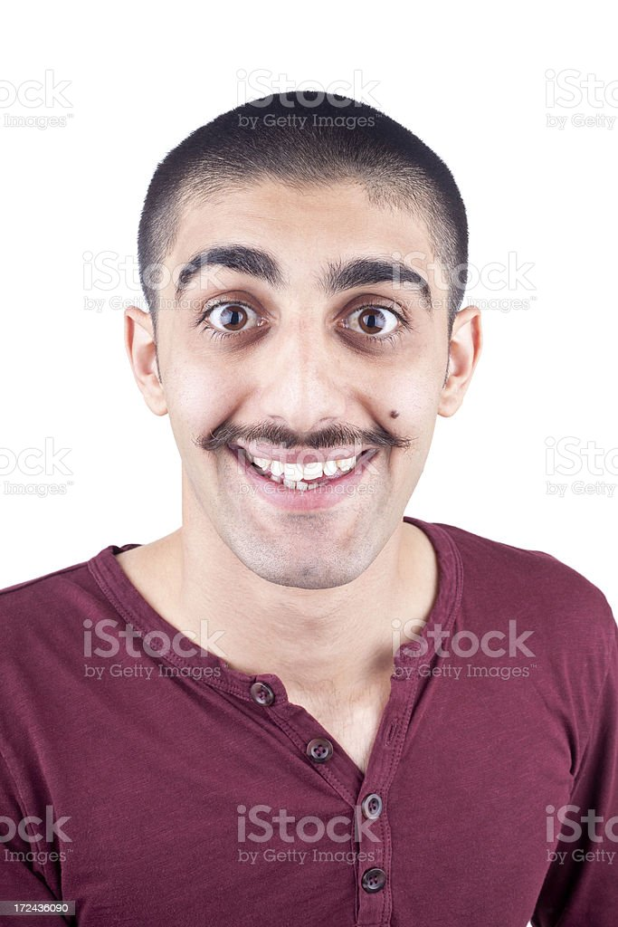 Mugshot of surprised man with mustache royalty-free stock photo