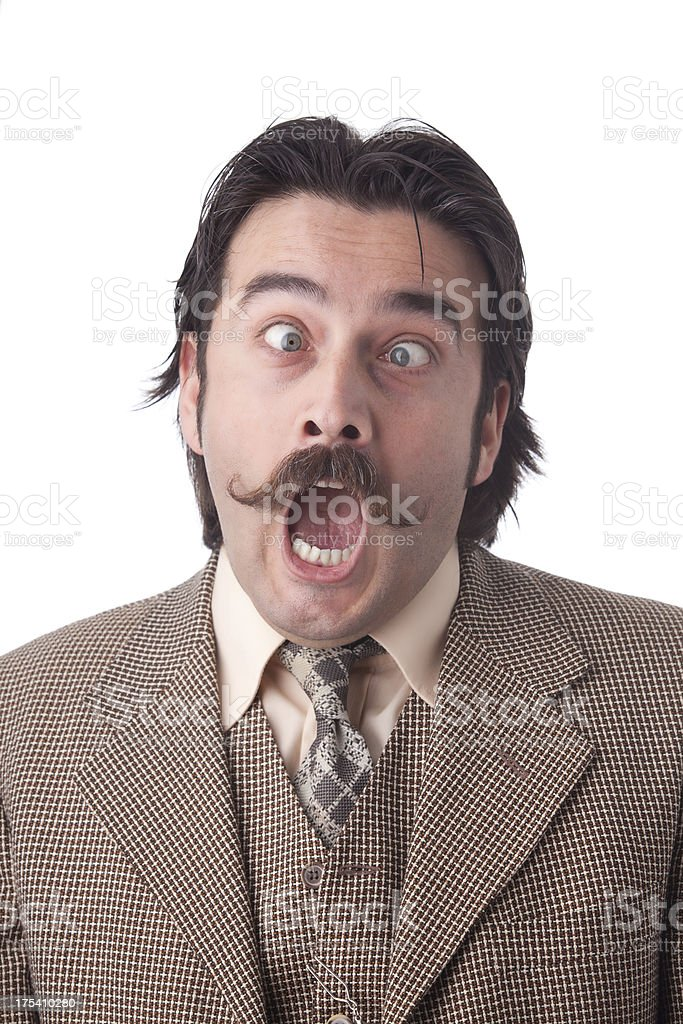 Mugshot of surprised man with mustache stock photo