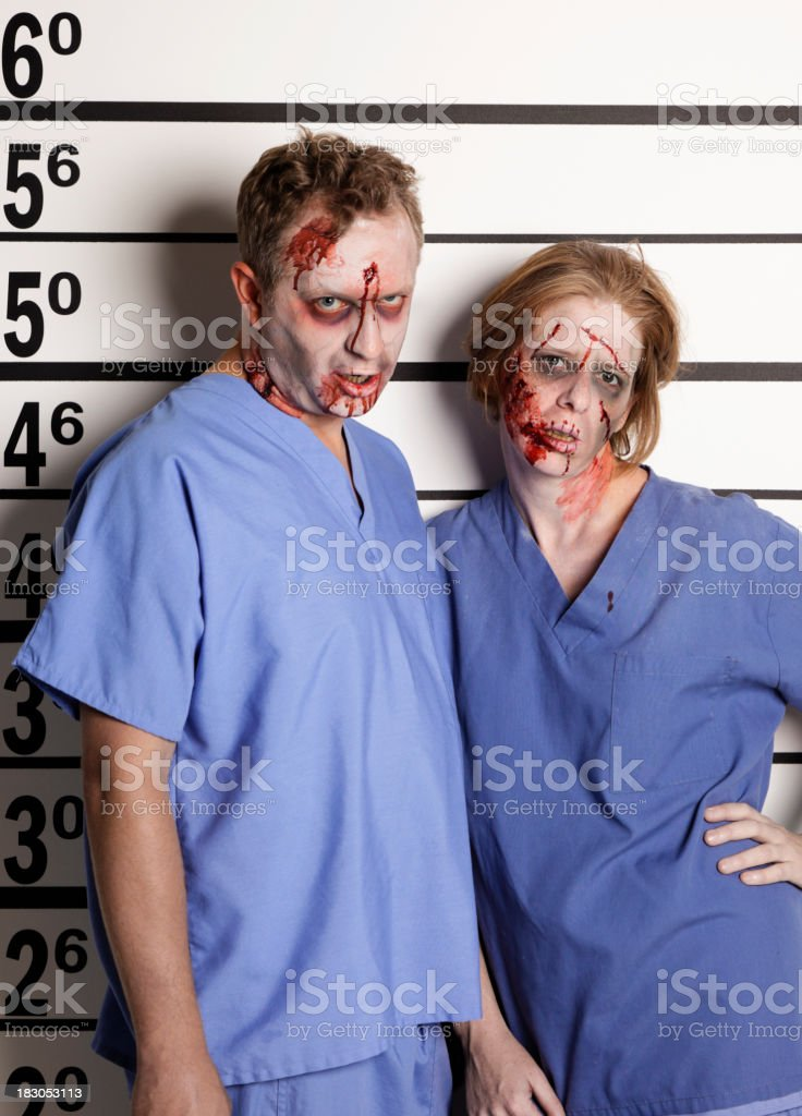 Mugshot of two Zombies royalty-free stock photo