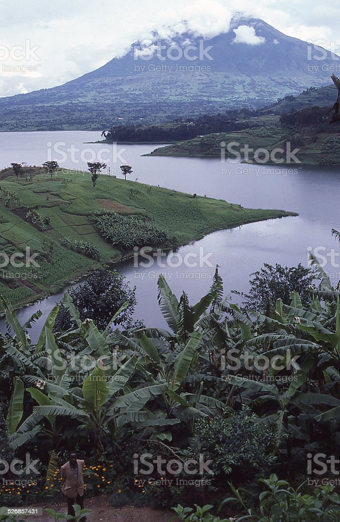 Muhabura Volcano and Lac Burera Northwest Rwanda stock photo
