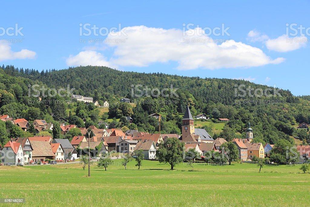 Muhlbach, village of Alsace stock photo