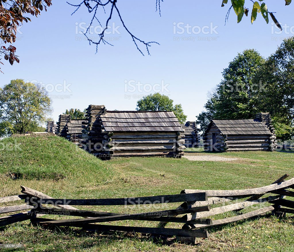 Muhlenberg Brigade Replicated Huts in Valley Forge stock photo