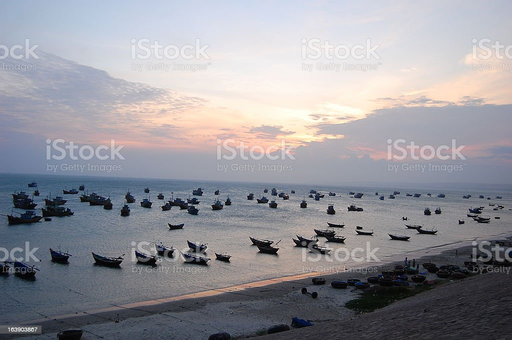Mui Ne harbour at sunset, Vietnam royalty-free stock photo
