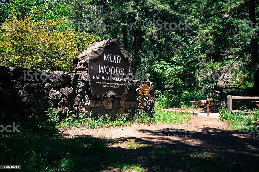 Muir Woods national park entrance stock photo