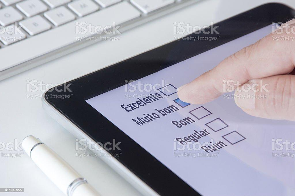 Muite bom Portuguese Tablet Questionnaire stock photo