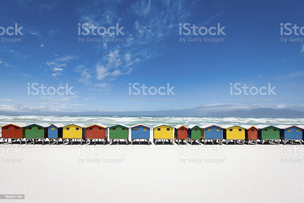 Muizenberg Beach Huts Panorama South Africa stock photo