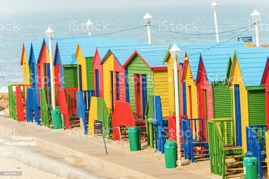 Muizenberg Beach Huts South Africa stock photo