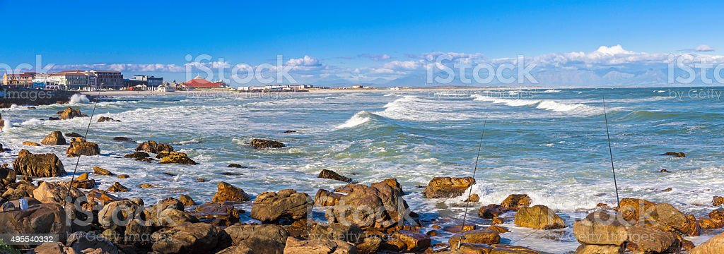 Muizenberg coastline beach favourite for surfers stock photo
