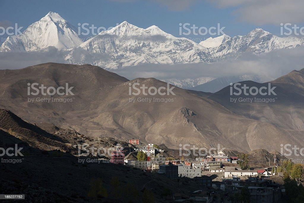 Muktinath and Dhaulagiri (8167m) Himalayas Nepal stock photo