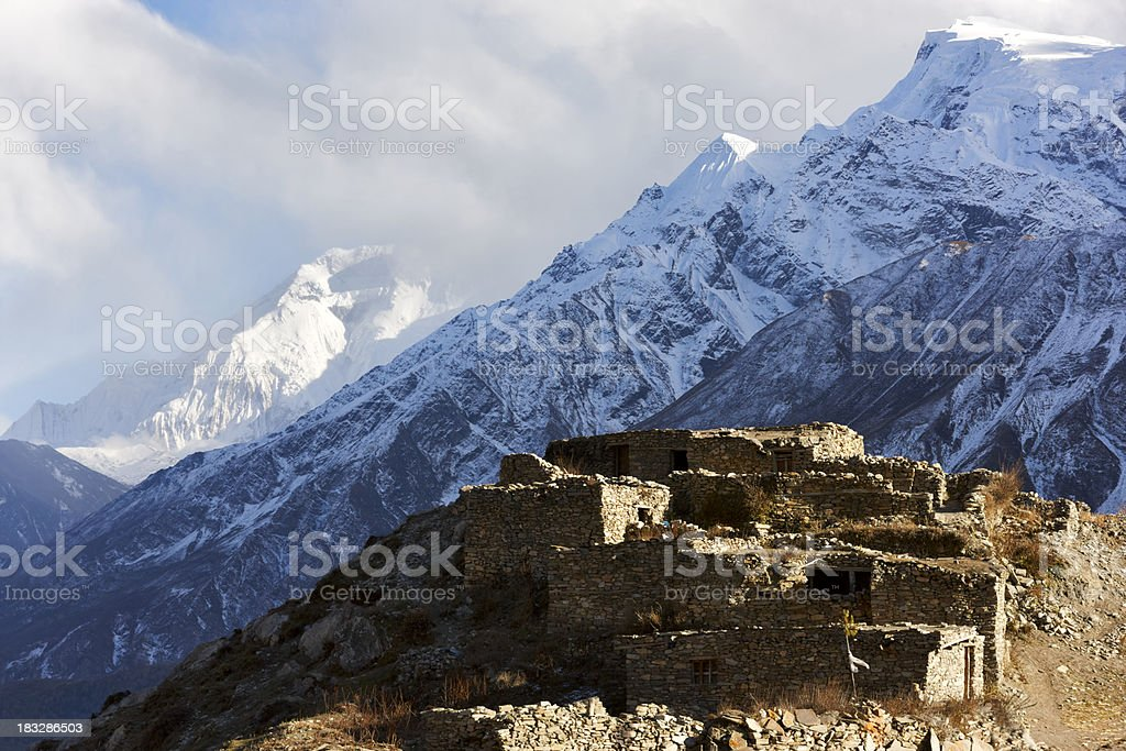 Muktinath Phedi. Thorong La.  Annapurna & Everest Circuit. Nepal motives. stock photo