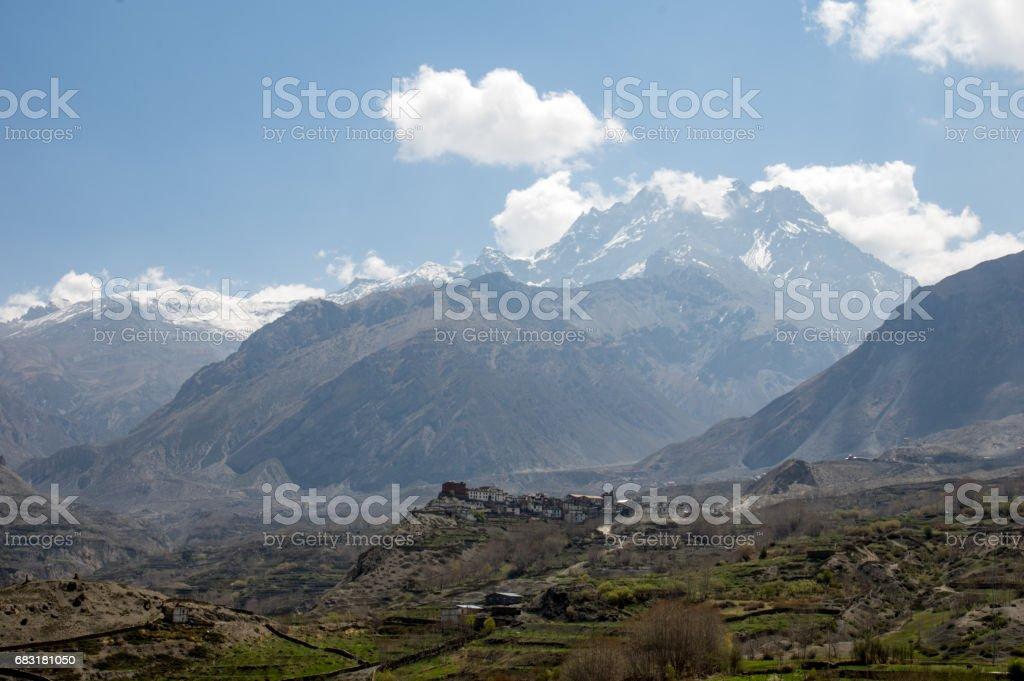 Muktinath Valley in Mustang Nepal stock photo