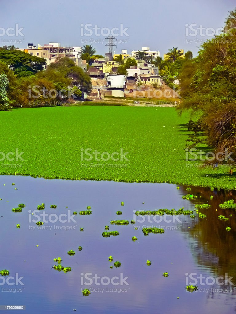 Mula river in city area, Pune, Maharashtra, India stock photo