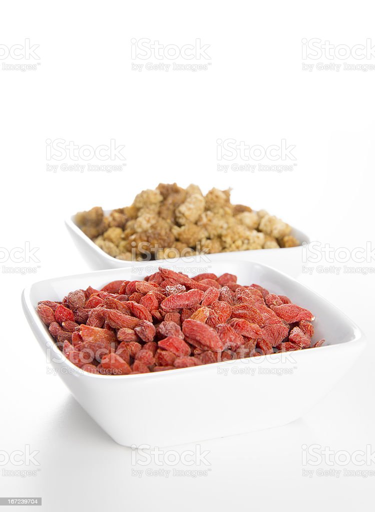 Mulberries and Goji berries in Bowls royalty-free stock photo