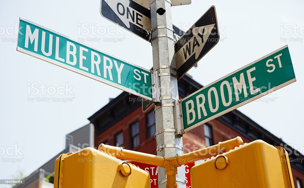 Mulberry and Broome Intersection Street Signs Little Italy Manhattan stock photo