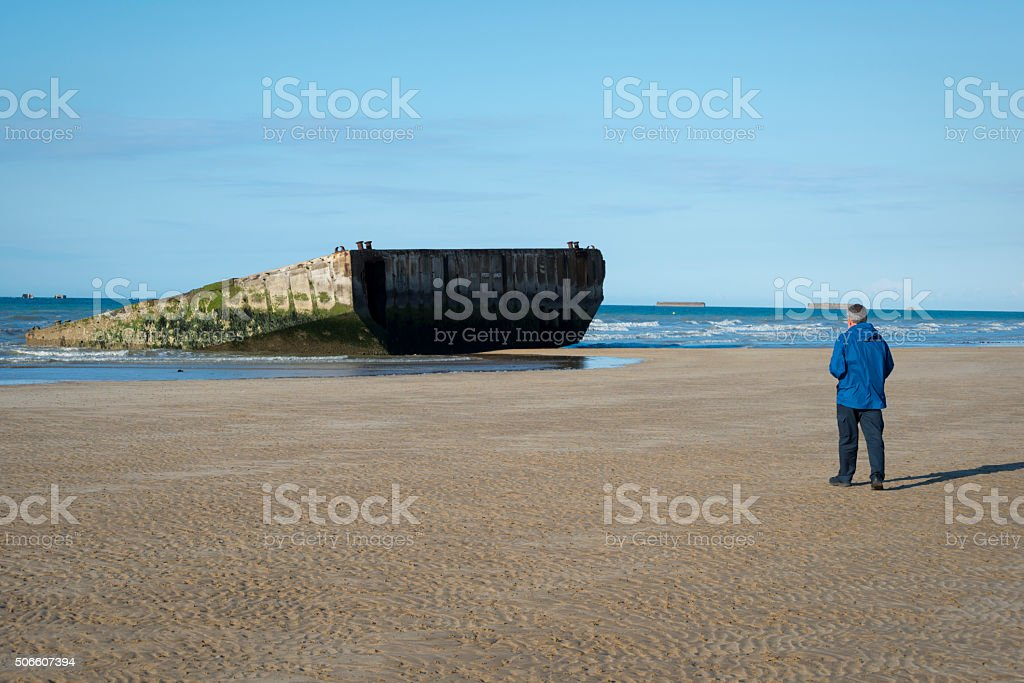 Mulberry Harbor in Arromanches, Normandy, France stock photo