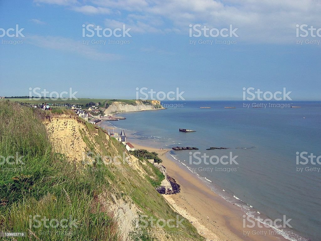 Mulberry Harbors on the D-day Beaches royalty-free stock photo